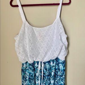 Lace & Print Maxi Dress